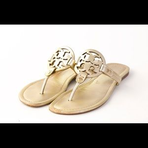 Shoes - Tory Burch Miller Sandals Spark Gold size 8